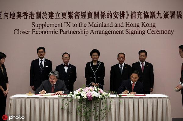 2012年6月29日,香港特别行政区政府和中央人民政府在《内地与香港关于建立更紧密经贸关系的安排》(《安排》)下,就进一步加强两地经贸合作和交流达成协议。图为香港财政司司长曾俊华(左)与商务部副部长蒋耀平签署协议。.jpg
