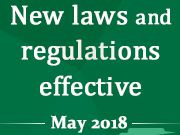 New laws and regulations effective May 2018