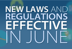 New laws and regulations effective in June 2018